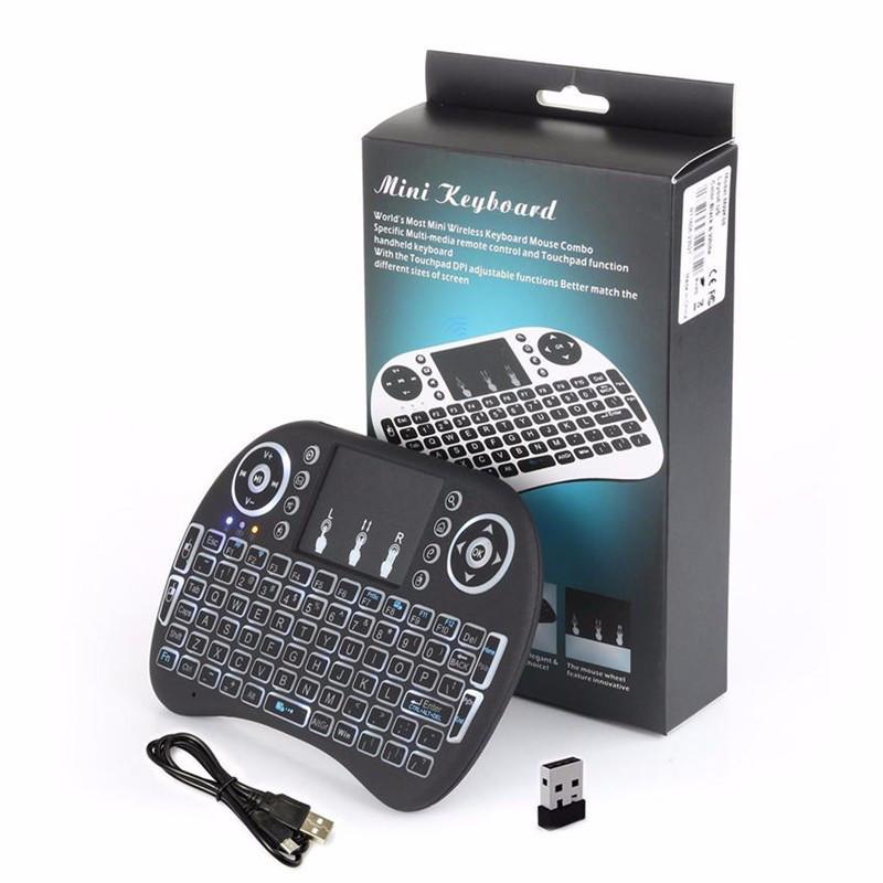 Беспроводная мини-клавиатура Toto i8 с подсветкой Mini Keyboard LED черный