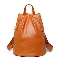 Рюкзак женский кожаный с 2 карманами (коричневый), фото 1