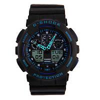 Стильные! Спортивные Часы Casio G-Shock ga-100 BLACK-BLUE(касио джи шок черные с синим (Наручний годинник)