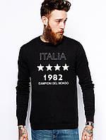 Спортивный свитшот, кофта, реглан , ITALIA 1982 (ЧЕРНЫЙ) Реплика