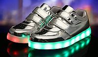 Детские светящиеся LED кроссовки 25-33 рр! Серые