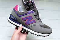 БРЕНД года!  Женские кроссовки New balance 574 Grey Purple (нью беланс) 37р