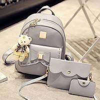 Набор женский - рюкзак с бантиком, сумочка, визитница, брелок мишка (серый), фото 1