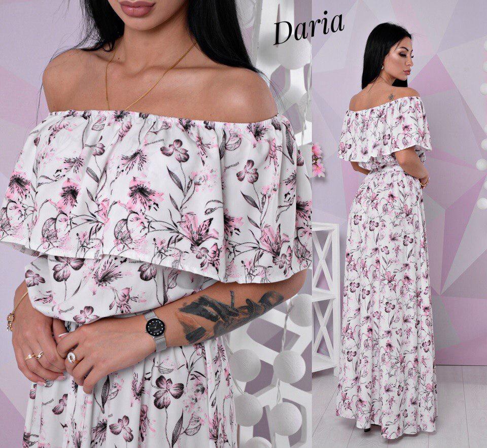 004931afc67 Летнее платье в пол с открытыми плечами на резинке — купить недорого ...