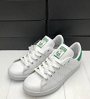 ТРЕНД СЕЗОНА! кроссовки Adidas Stan Smith (адидас стэн смит) белые с зеленым, спортивная женская обувь