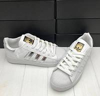 Это в ТРЕНДЕ! Женские кроссовки, кеды Adidas Superstar (Адидас Суперстар) белые с серебристым! 37р