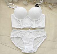 Элегантный белоснежный белый комплект нижнего белья размер 75В