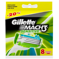 8 шт\уп.-Сменные кассеты  GILLETTE MACH3 SENSITIVE (жилет мак3 сенсетив) картриджи, лезвия для бритья. Германия. ОРИГИНАЛ !