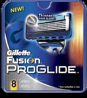 8 шт\уп.-Сменные кассеты  GILLETTE FUSION PROGLIDE (жиллет фусион) 5 ЛЕЗВИЙ картриджи, лезвия для бритья. Германия. ОРИГИНАЛ !