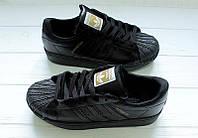 МОДНЫЕ! кроссовки ADIDAS SUPERSTAR ALL BLACK (адидас суперстар) мужская спортивная обувь подвседная  р36-44