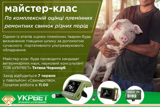 У рамках XXX Міжнародної агропромислової виставки «АГРО-2018»  (6–9 червня) вперше відбудеться майстер-клас по комплексній оцінці племінних ремонтних свинок різних порід, представлених різними племпідприємствами України, організованого корпорацією «Тваринпром».  Одним із етапів оцінки племінних тварин буде визначення товщини шпику за допомогою сучасного  портативного ультразвукового обладнання. Майстер-клас буде проводити кандидат ветеринарних наук, науковий консультант  ТОВ «УКРВЕТ»  Тетяна Чорнозуб.  Захід відбудеться 7 червня у павільйоні «Свинарство». Початок роботи в 11.00