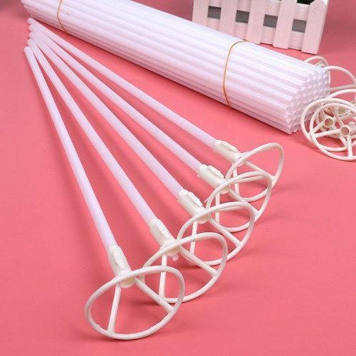Палочка держатель для шарика фольгированного белая 40 см.