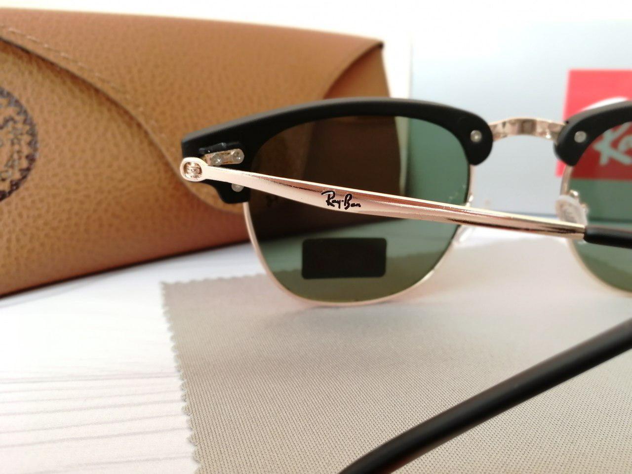 ... Женские солнцезащитные очки Ray Ban Рэй Бэн Клабмастер чёрные с чёрным  отливом (реплика), ... e594c0602f6