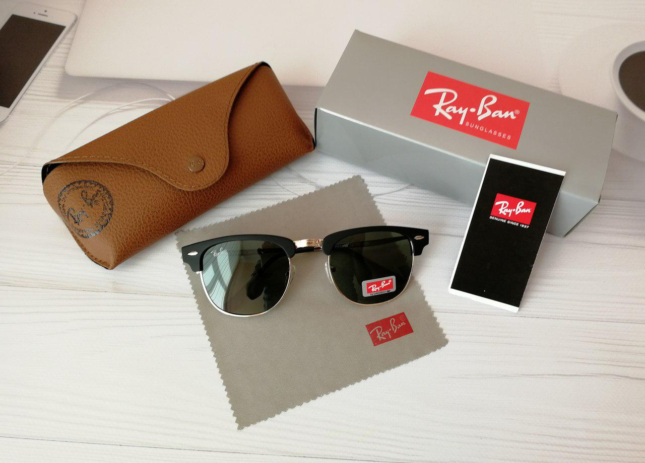 Солнцезащитные очки Ray Ban Рэй Бэн Клабмастер чёрные с чёрным отливом ( реплика), ... 9c2b512b433