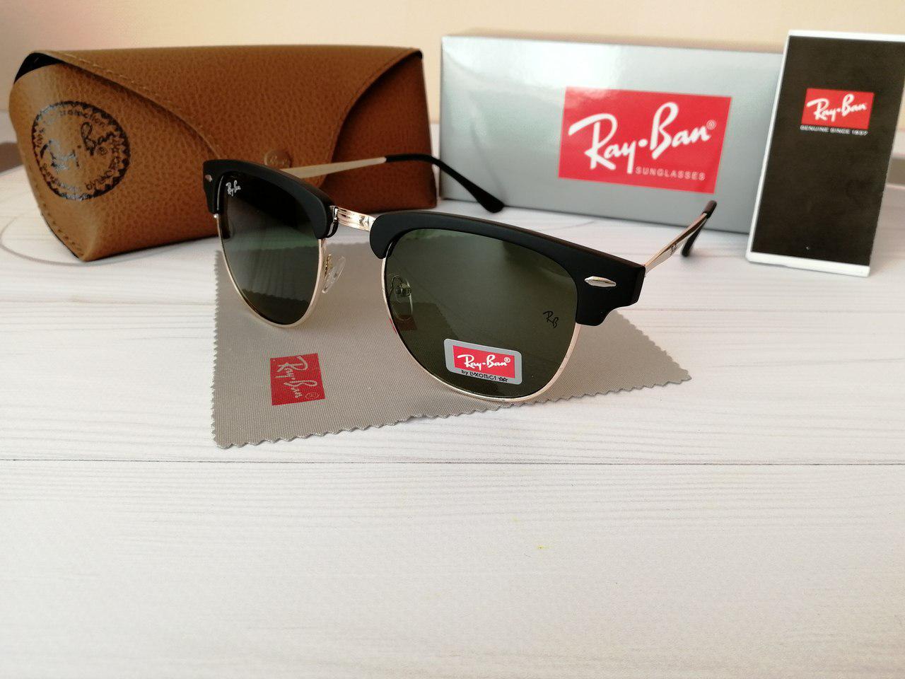 ... фото Солнцезащитные очки Ray Ban Рэй Бэн Клабмастер чёрные с чёрным  отливом (реплика), фото 3e49e23bffc