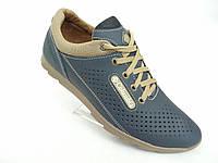 Кожаные мужские кроссовки Columbia перфорация син., фото 1