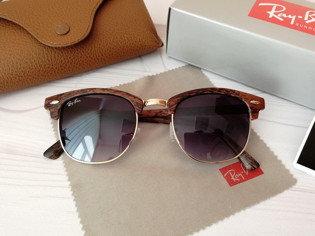 Солнцезащитные очки Ray Ban Рэй Бэн Клабмастер коричневые с фиолетовым градиентом (реплика)