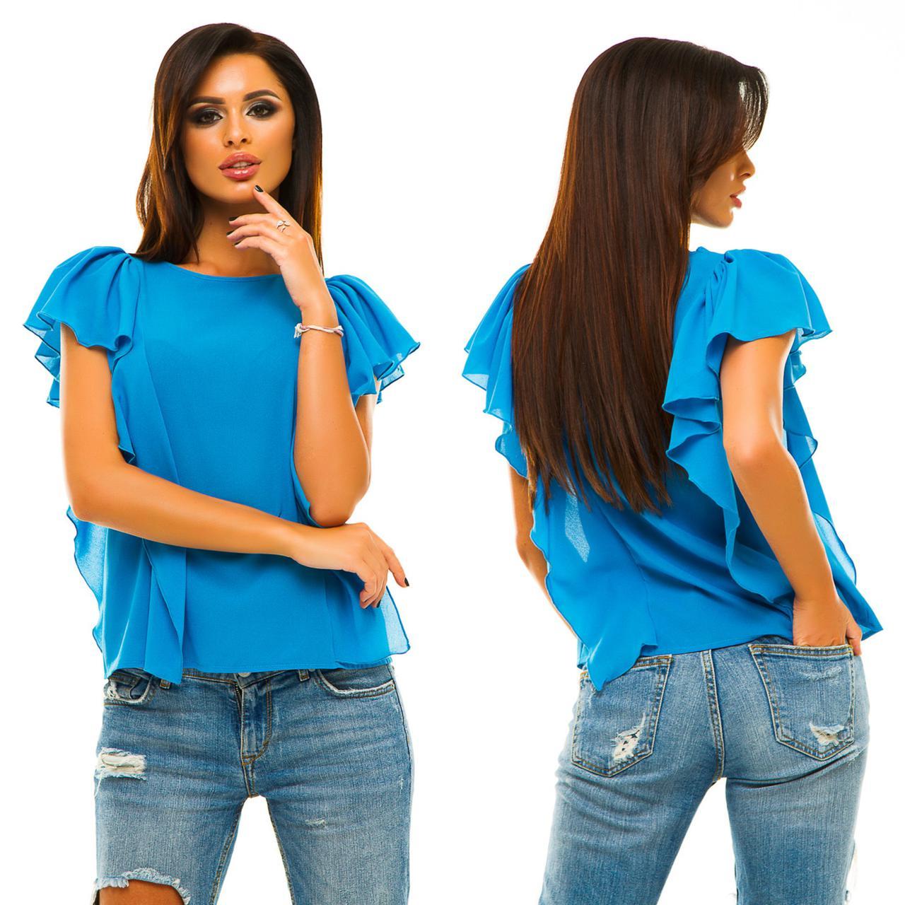 61b8521802c Нарядная ярко-голубая шифоновая женская блуза декорировано рюшами по бокам.  Арт-6751