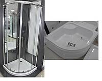 Комплект кабіна для душу VILARTE QU-100 100х100 + глибокий піддон 45см з сифоном Польща