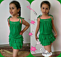 Летний костюм детский топ+юбка  зеленый,голубой,желтый,коралл, серый,фиолетовый