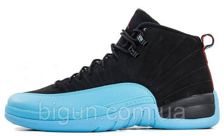 Мужские кроссовки Nike Air Jordan 12 Retro Black Gamma Blue (найк аир  джордан 12 cf372644ef1