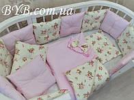 """Комплект постельного белья и бортики """"Нежно-розовый с розами"""""""
