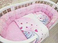 """Набор постельного белья """"Розовый сатин с кружевом и панельками"""""""