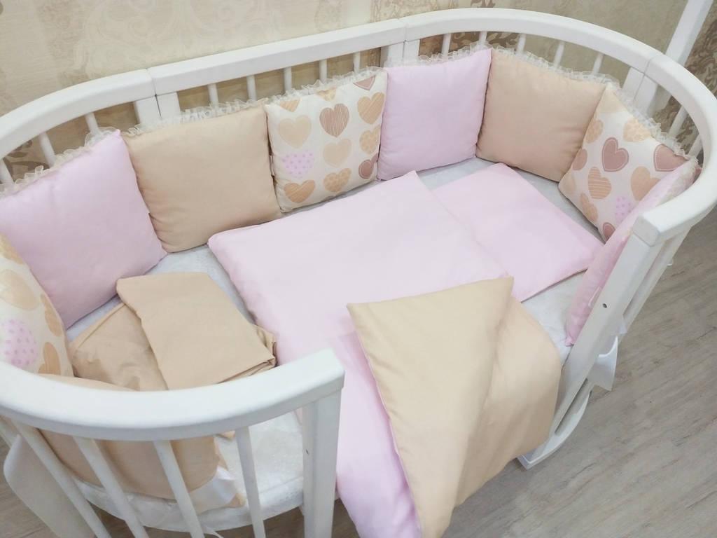 """Набор постельного белья """"Бежево-розовый с сердцами"""""""