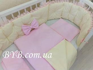 """Набор постельного белья """"Молочный с розовым кружевом"""""""