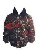Зимняя куртка-пилот камуфляжная с цельной утепленной подкладкой из искуственого меха