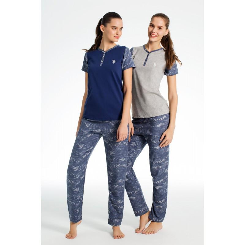 Домашняя одежда U.S. Polo Assn - Пижама женская (корот. рукав) 15636 серая, L