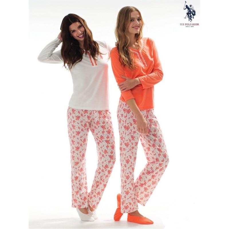 Домашняя одежда U.S. Polo Assn - Пижама женская (длин.рукав) 15116 оранжевая, L