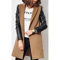 Женское кашемировое пальто рукава кожа, фото 1