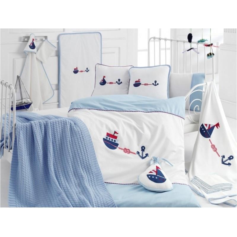 Детский набор в кроватку для младенцев Irya - Marine голубой (16 предметов)