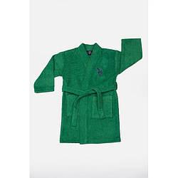 Дитячий махровий Халат U. S. Polo Assn - USPA koyu yesil зелений 3/4 року