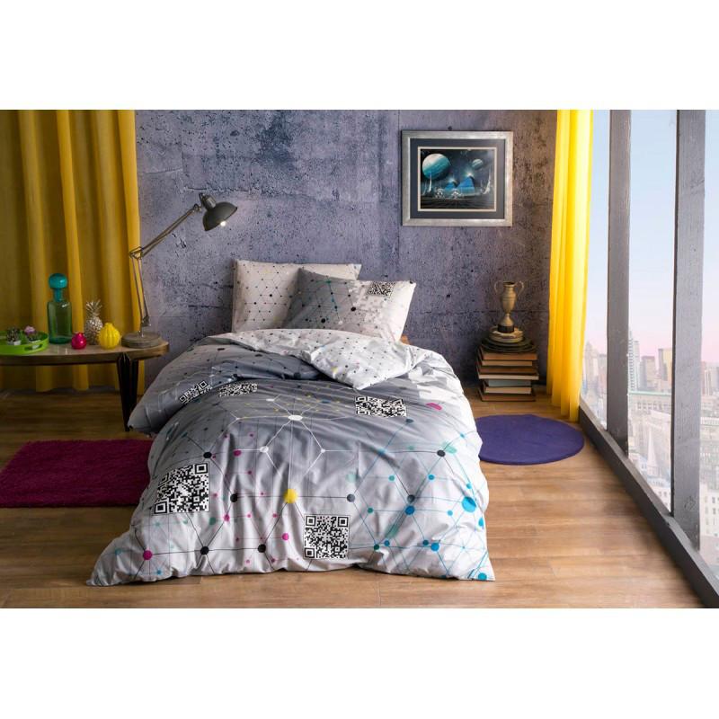 Постельное белье Tac Ranforce Teen - Connect серый подростковое