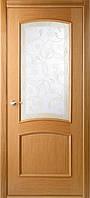 """Двери Belwooddoors """"Сорренто"""" со стеклом мателюкс белый витраж рис.37 (дуб радиал, орех)"""