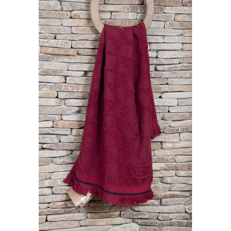 Полотенце махровое Buldans - Selcuk burgundy бордо 90*150