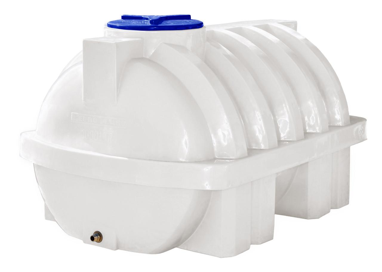 Емкость 1500 литров усиленная с ребром, горизонтальная