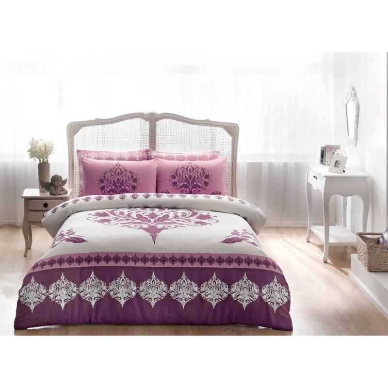 Постельное белье Tac сатин - Venna murdum v05 фиолетовый евро
