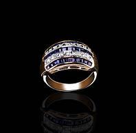 Золотое кольцо с сапфирами и бриллиантами С18Л2№9