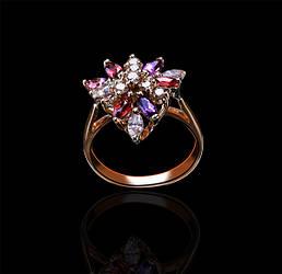 Золотое кольцо с аметистами и бриллиантами С18Л1№23
