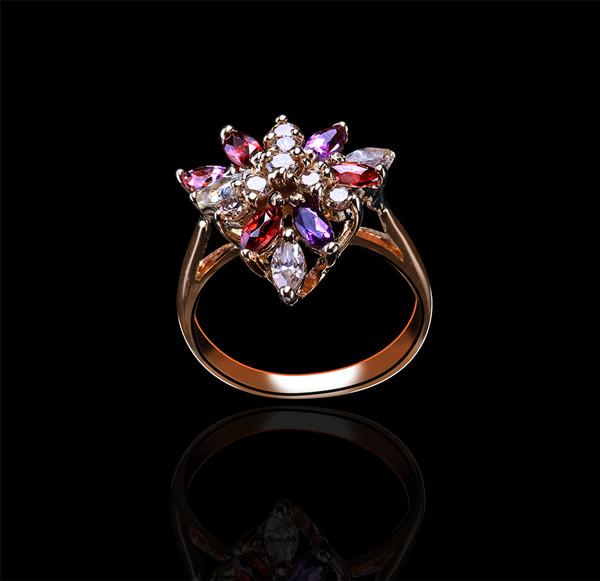 Золоте кільце з аметистами і діамантами С18Л1№23