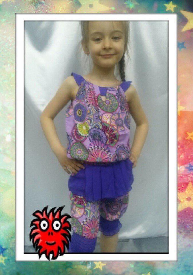 Летний костюм детский капри с блузкой (разные цвета) 122-140 см