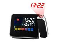 Жидкокристаллические часы с проектором времени(будильник, термометр, гигрометр, прогноз погоды, календарь), фото 1