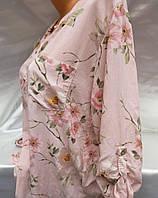 Блуза женская из штапеля с цветочным принтом