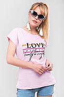 Женская футболка с накаткой-надписью Love yourself и горизонтальными полосками S, M, L, XL