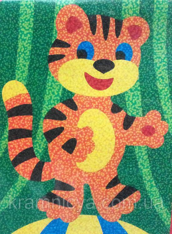 картина цветным песком Тигр