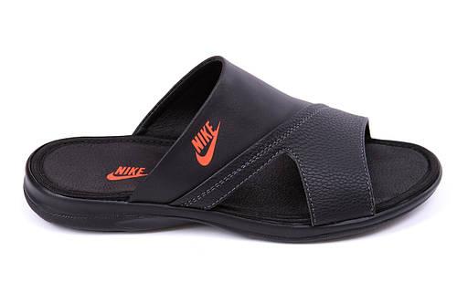 Мужские кожаные  летние шлепанцы-сланцы Nike