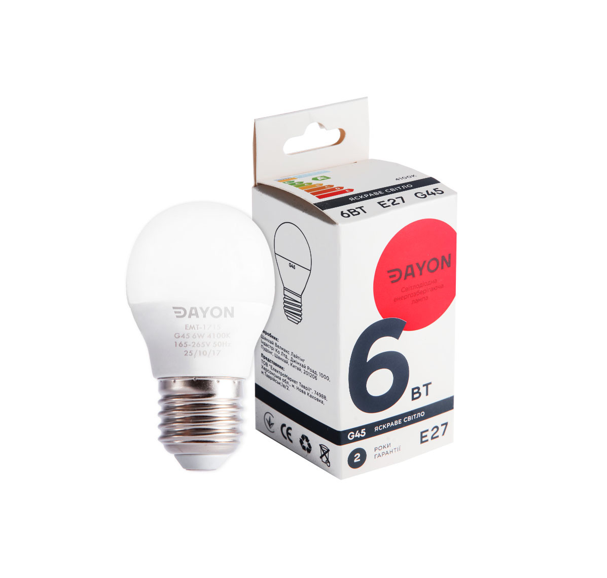 Светодиодная лампа DAYON EMT-1716 G45 6W 4100K E27